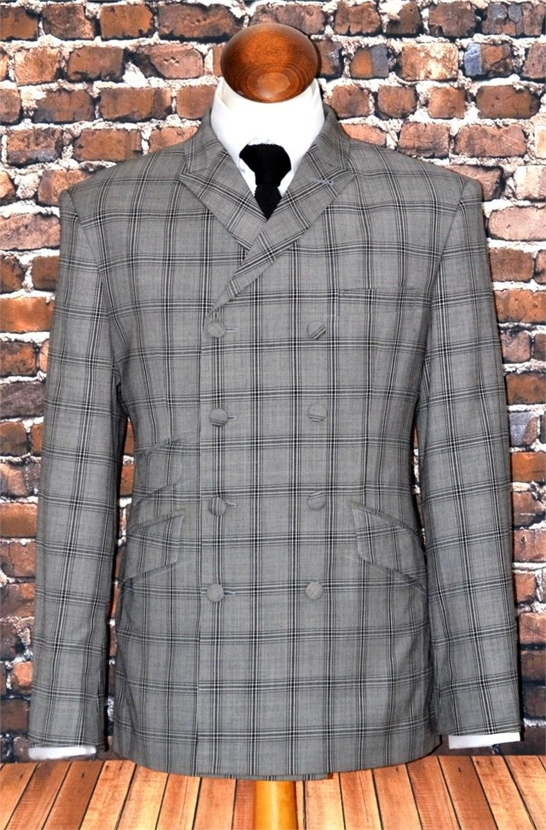 """Bertie"" Double Breasted Large Window Checked Suit"
