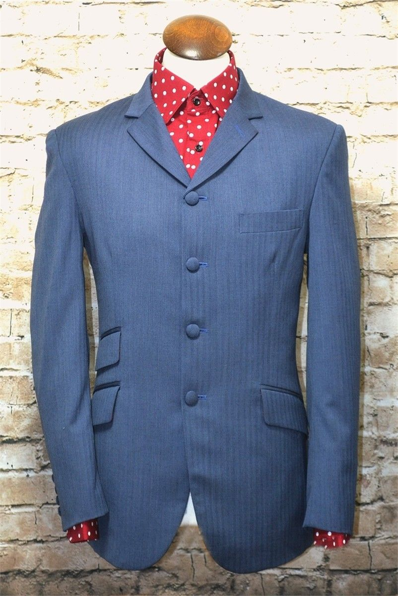 """Betts"" Airforce Blue Herringbone 3 Button Suit"