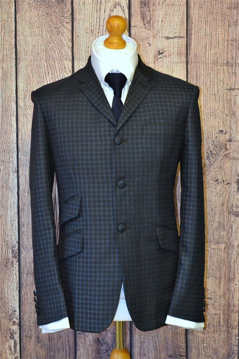 """Kenny"" Stunning Navy & Black Check Suit"