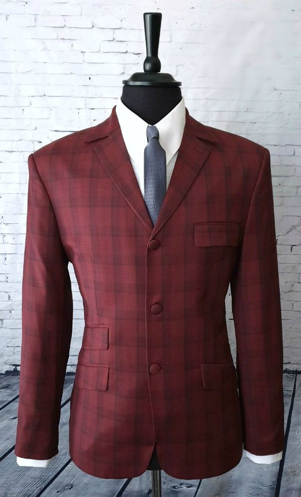 """Lawson""  Stunning Burnt Burgundy Checked Suit. A beautiful cloth immaculately crafted Classic in its design the Lawson sits beautifully and would grace any wardrobe Top pocket flap is designed to"