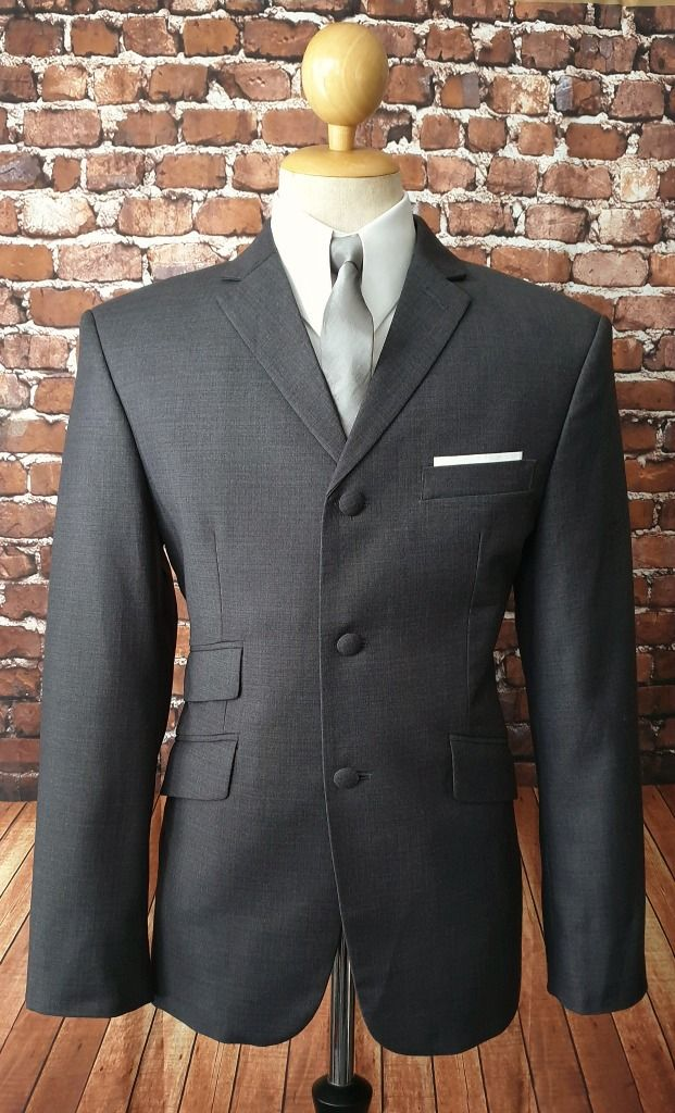 """Lucas"" Charcoal Three Button Suit"