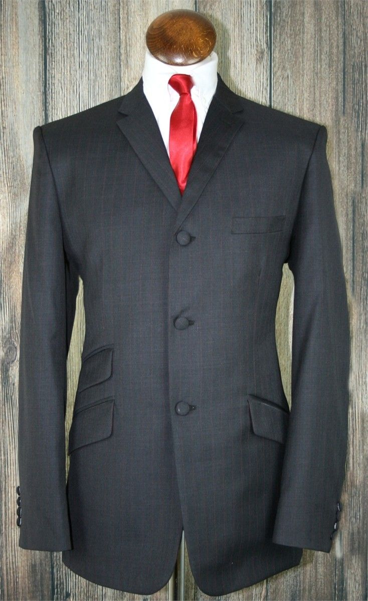 """Parsons"" Charcoal Faint Red Pinstripe 3 Button Suit"
