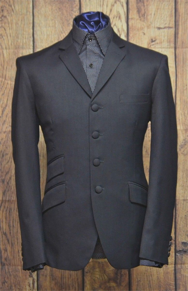 """Terence"" 4 Button Charcoal 3 button Suit"