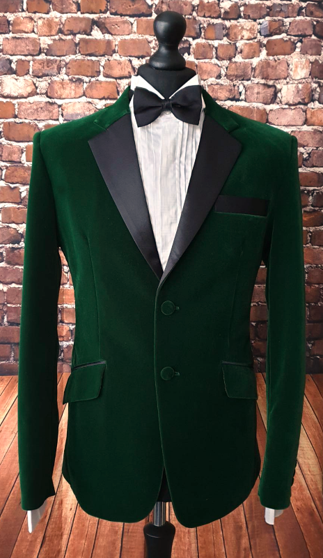 """Tobias"" Moss Green Plush Velvet Dinner Jacket"