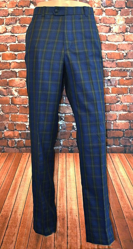 "The ""Cooper"" Blue Large Checked 100% Wool Trouser"