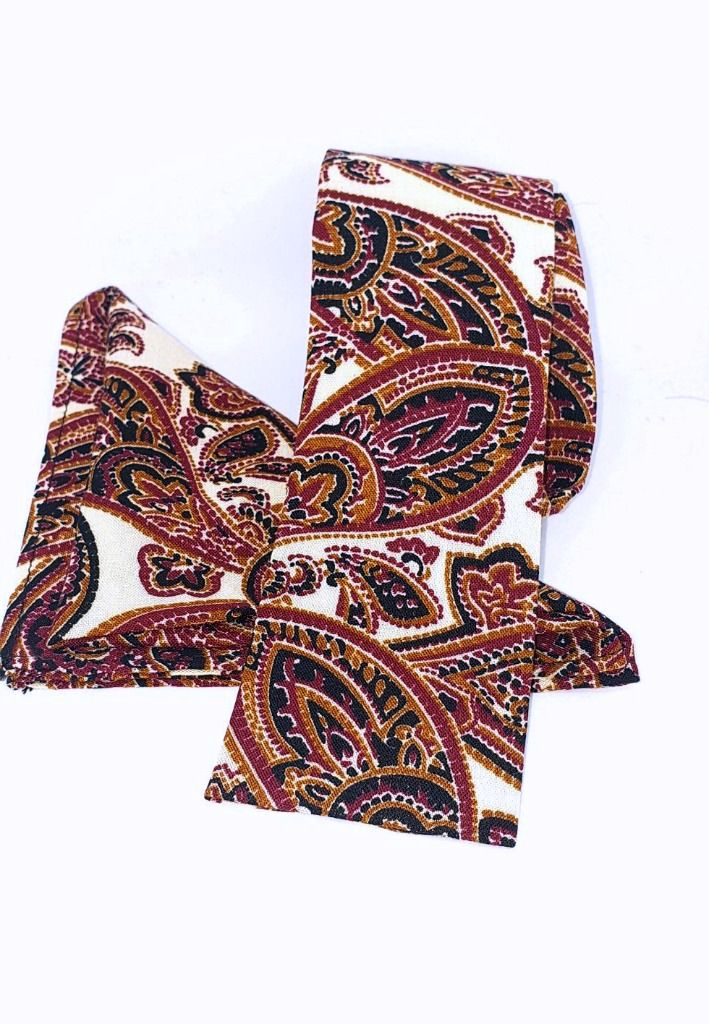 "The "" Parker"" Large Paisley Print Pocket Square & Tie Set"